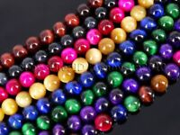 Natural Tiger's Eye Gemstone Round Beads 15'' Red Gold Blue Green Pink Assorted