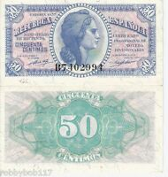 SPAIN 50 Cents Banknote World Paper Money XF Currency Asia Note BILL 1937 p93
