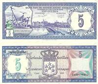 NETHERLANDS ANTILLES 5 Gulden Banknote World Paper Money UNC Currency Pick p-15b