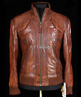 Cruise Brown Men's Vintage Retro Real Waxed Sheep Nappa Fashion Leather Jacket