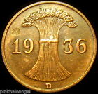 Germany - German Third Reich - German 1936D Reichspfennig Coin - S&H Discounts