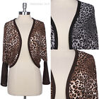 All Over Leopard Animal Print Long Sleeve Short Open Cardigan with Ribbed Trim