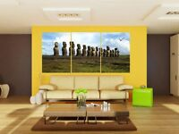 Famous Easter Island Statue Modern quality Canvas Print Set Of 3 choice of clock