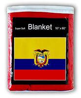 """ECUADORIAN FLAG FLEECE BLANKET *NEW* 50""""x60"""" Bandera del Ecuador Manta Cobija"""