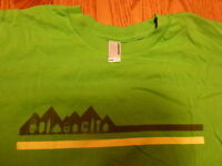 APPLE CAMP T-SHIRT Green XXS tee logo Extra Extra Small AMERICAN APPAREL Youth