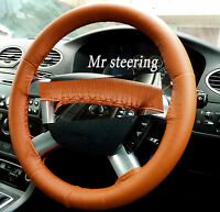FITS FORD FOCUS 1998-2012 REAL ORANGE TAN ITALIAN LEATHER STEERING WHEEL COVER