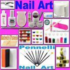 kit nail art ricostruzione unghie taglia tips gel lampada UV limetta pennelli
