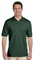 Jerzees Men's Two Button Placket Knit Collar Stain Resistant Polo Shirt. 437