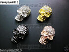 10Pcs Side Ways Crystal Rhinestones Long Skull Bracelet Connector Charm Beads