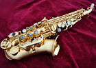 Top approved curved soprano saxophone Stain gold plated saxofon high F# new case