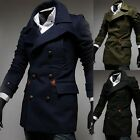 Men's Wool Double Breasted Casual Trench Peacoat Long Jacket Coat Overcoat M-XXL