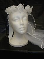 NEW GIRL'S WHITE TULLE VEIL WITH DIAMOND TIARA CROWN FIRST COMMUNION FLOWER GIRL