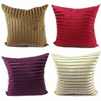 Large Set of 4 Cut Velvet Stripe Scatter Cushions + Covers Filled
