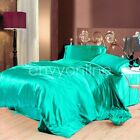 DELUXE KING SIZE BED SATIN SOFT FITTED FLAT PILLOWCASE SHEET SET - Aqua Green
