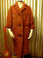 VTG 60 RARE FUZZY FLUFFY SHAGGY LONGHAIR MOHAIR COAT MELON COLOR SZ M