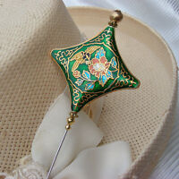 HATPIN with GREEN & GOLD CLOISONNE PILLOW with BIRD & FLOWERS