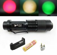 UltraFire CREE LED Flashlight Red Green Yellow Zoom Focus Torch Lamp+Battery UK