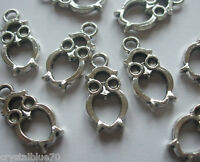 10, 20 or 30 x Owl Charms Bird 21x10mm Double Sided Antique Silver Tone Crafts