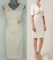 Ex KALIKO Corsage Dress Pencil Shift Champagne Nude Wedding Vintage Size 8-20