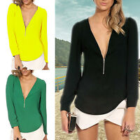 Summer Fashion Sexy Women's V-neck Long Sleeve Chiffon Shirt Tops Casual Blouse