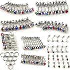 100pcs 10styles wholesale body jewelry belly tongue lip rhinestone piercing sim