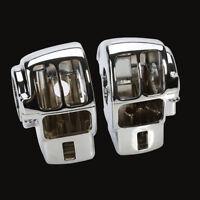 2 x Chrome Switch Housings Cover For Harley Electra Glide FLHT Street Glide FLHX