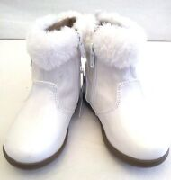 HEALTHTEX- Toddler Girls Size 2,3,4,5,6-WHITE-Patent Booties Premium SPECIAL