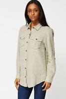 NEW WOMENS GORGEOUS Linen Chest Pocket Shirt IN GREEN SIZES 6-20