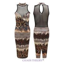 Ladies Womens Leopard Print Mesh Panel Strappy Bodycon Midi Dress 8-14