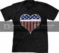 USA Flag Heart Love Patriotic Pride Fourth 4th of July Independence Day Mens Tee