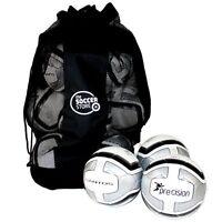 10 x WHITE/SILVER PRECISION SANTOS TRAINING FOOTBALL + BALL BAG - SIZES 3, 4 & 5