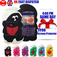 CUTE SMURF SILICONE CASE & FREE SCREEN PROTECTOR For BlackBerry Curve 8520 9300