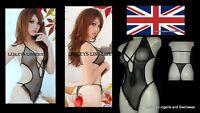 SEXY BLACK BODY STOCKING MICRO FISHNET TEDDIE ONE SIZE UK 8/14 BNWT