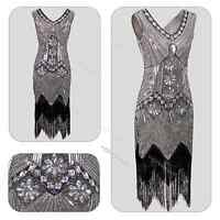 Vintage 1920s Flapper Dress Gatsby Charleston Fringe Beaded Sequin Clothing