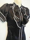 M & F POWERHOUSE ~ Black Ruffle Front Silk Short Sleeved Blouse ~NWT RRP $89.95!