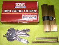 ERA BRASS 5-PIN EURO PROFILE DOUBLE CYLINDER DOOR LOCK 3-KEYS 4053-31 SB 30/35
