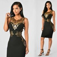 Women  Bandage Bodycon Sleeveless Lace Applique Evening Party Sexy Club Dress
