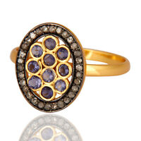 Gold Vermeil 925 Sterling Silver Pave Diamond Iolite Ring, Wedding Gift Jewelry