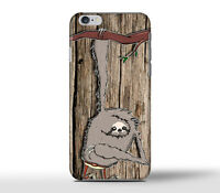 Funny Cute Sloth Wood Art Hard Case Cover For Apple iPhone Models