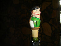VTG Bottle Cork,  HAND CARVED Wooden Mountain Man, Moveable Mouth