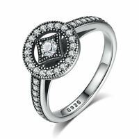 Authentic 925 Sterling Silver Vintage Allure Engagement Ring w/Clear CZ Accents
