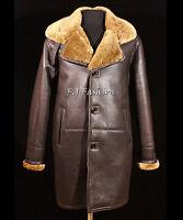 Roy Brown Ginger Mens Smart Winter Real Shearling Sheepskin Leather Duffle Coat