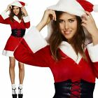 Sexy Fever Miss Santa Hooded Ladies Christmas Fancy Dress Costume Mrs Claus