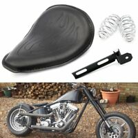 "Flame Leather Driver Solo Seat+3"" Mounting Kit For Harley Chopper Bobber Custom"