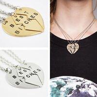 Best Bitches' Engraved Heart Pendant Necklace *2 & 3 Pcs* Friends Forever! A