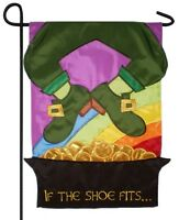 "St. Patrick's Day Leprechaun If the Shoe Fits with Pot Of Gold 28"" x 44"" Flag"