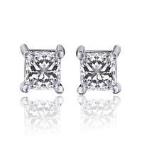 1/3 .33 ct I-J I2-I3 Diamond Stud Earrings Genuine Not Enhanced 14k WG Princess