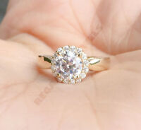 Flower Shape Diamond Halo Ring 2CT VVS1 Diamond Solid 14K Yellow Gold Over