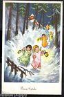 Augurale Natale Angeli con Lanterne Paesaggio Innevato Xmas Angels PC circa 1930