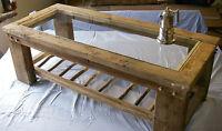 Rústico Macizo Recuperado Driftwood Parte Superior De Vidrio Mesa De Centro